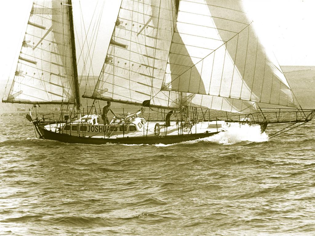 Bernard Moitessier sailing his ketch rigged yacht 'Joshua'