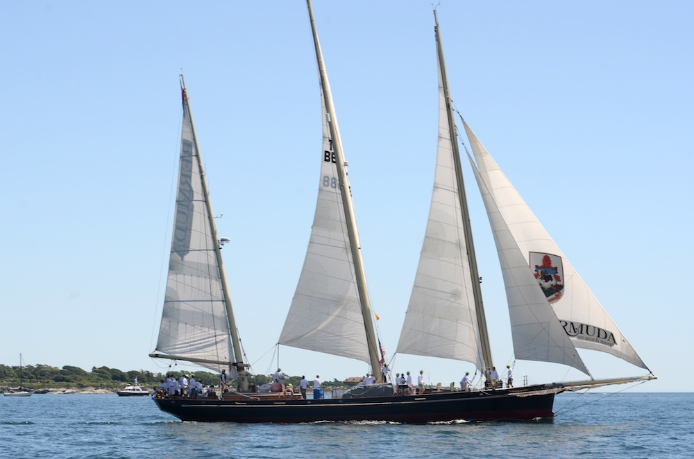 2014 Newport Bermuda Race start from Newport, Rhode Island. SPIRIT OF BERMUDA, 3-masted Bermudian sloop owned by the Bermuda Sloop Foundation